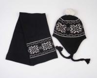 Комплект шапка с ушками  и шарф из шерсти яка